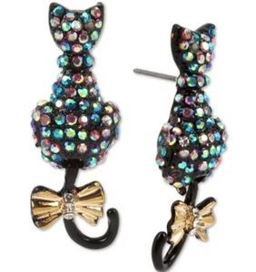 Betsey Johnson Pave 2 Tone Cat Stud Earrings NWT
